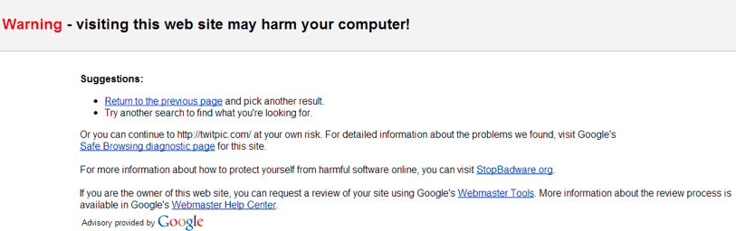 Google   Warning - visiting this web site may harm your computer!