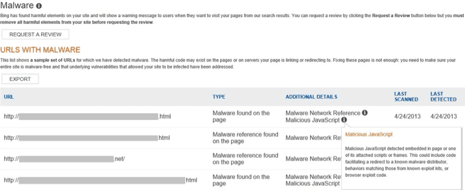 Bing Webmaster Tools, Malware Review Request Form