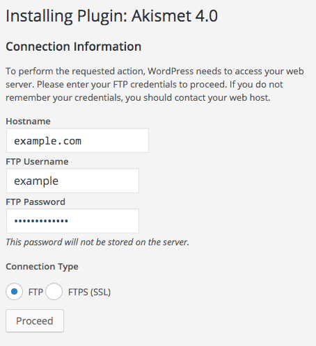 Adding FTP credentials to WordPress