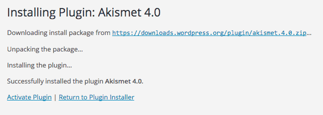 Akismet installation using FTP credentials