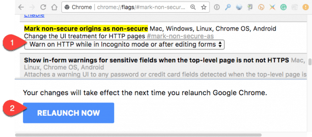 How to enable the non-HTTPS warning