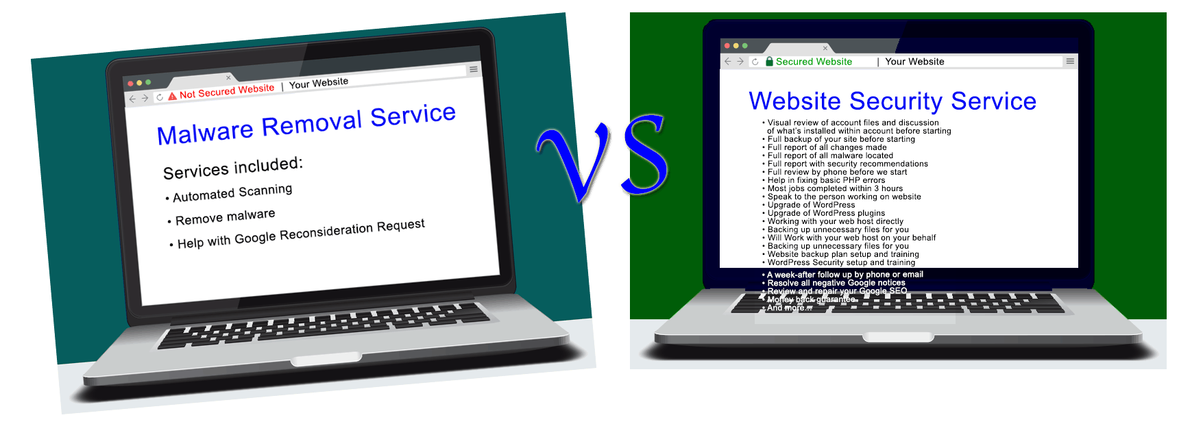 malware removal service versus website security service