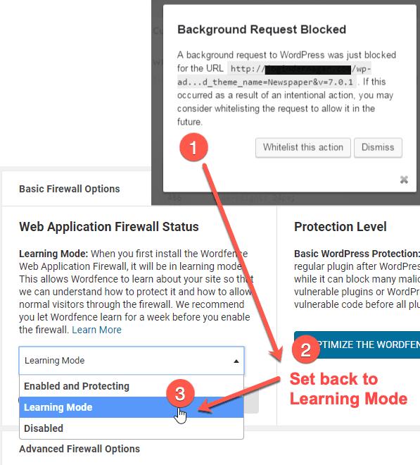 Wordfence learning mode